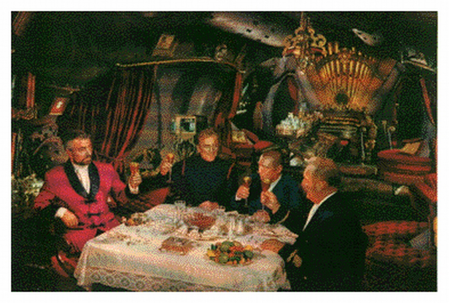 Lobby card with interior of the Nautilus. Notice the large pipe organ at the back of the salon with the Nemo crest