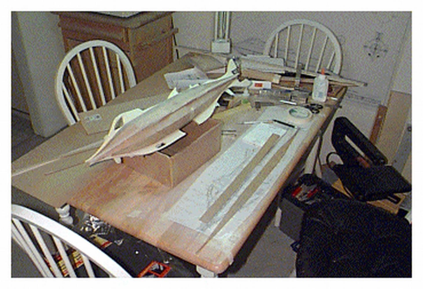 The planked hull sitting in the temporary cradle