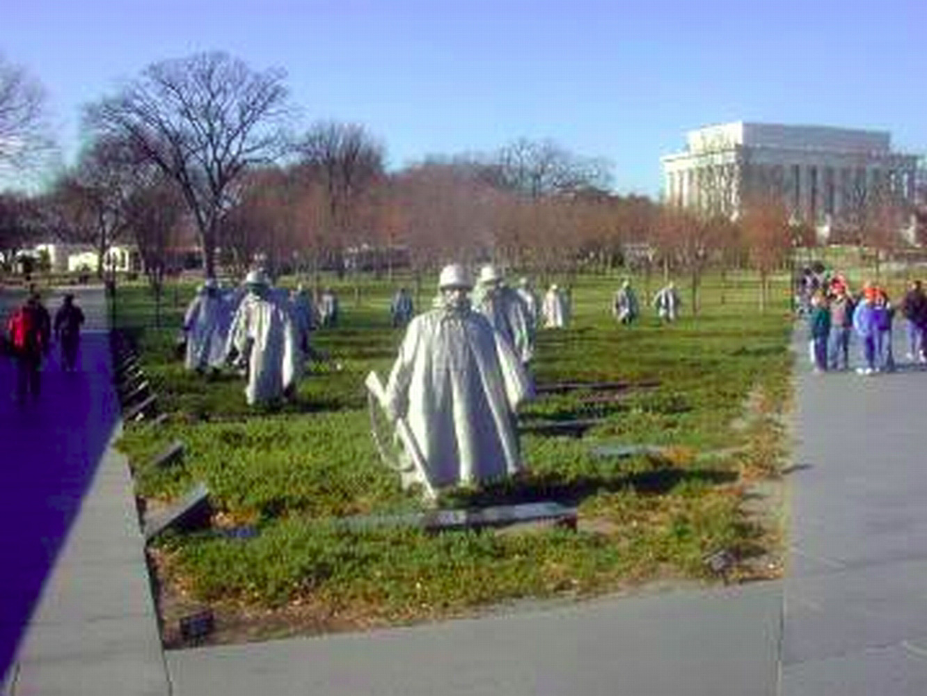 Washington DC, Korean War memorial and Lincoln memorial