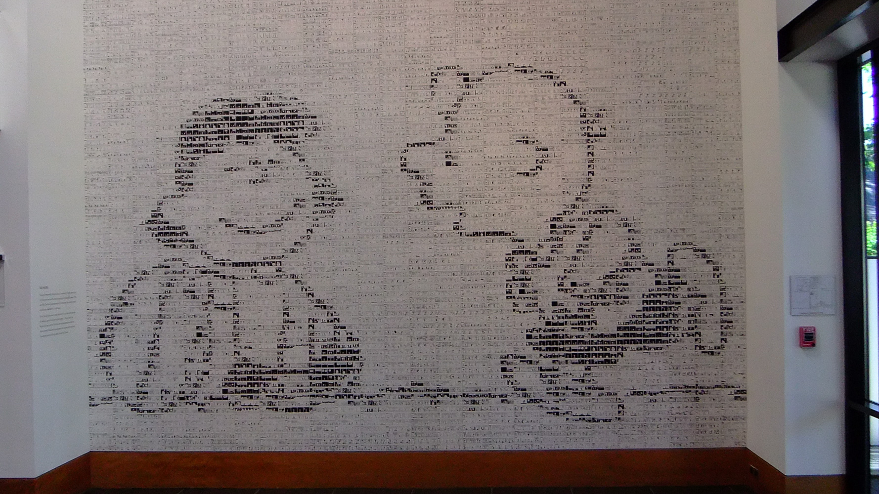Charles Schultz Museum mosair of cartoon strips forming Charley Brown and Lucy holding the football