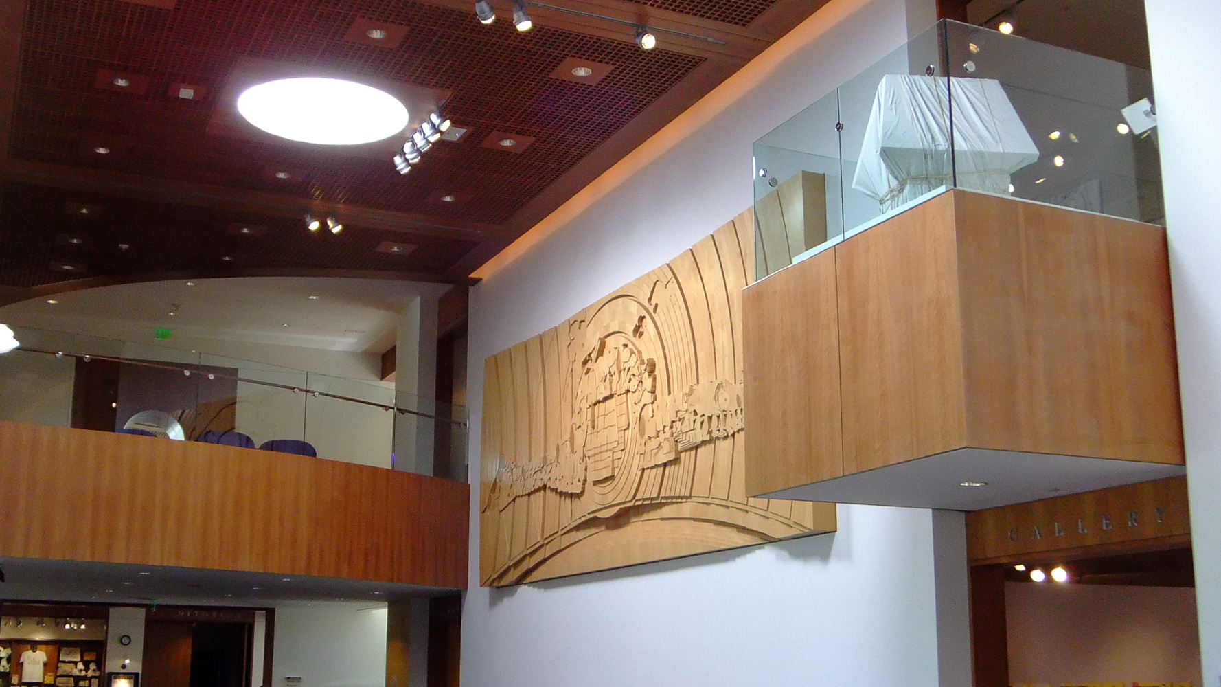 Charles Schultz Museum wood art illustrating the transformation of Snoopy