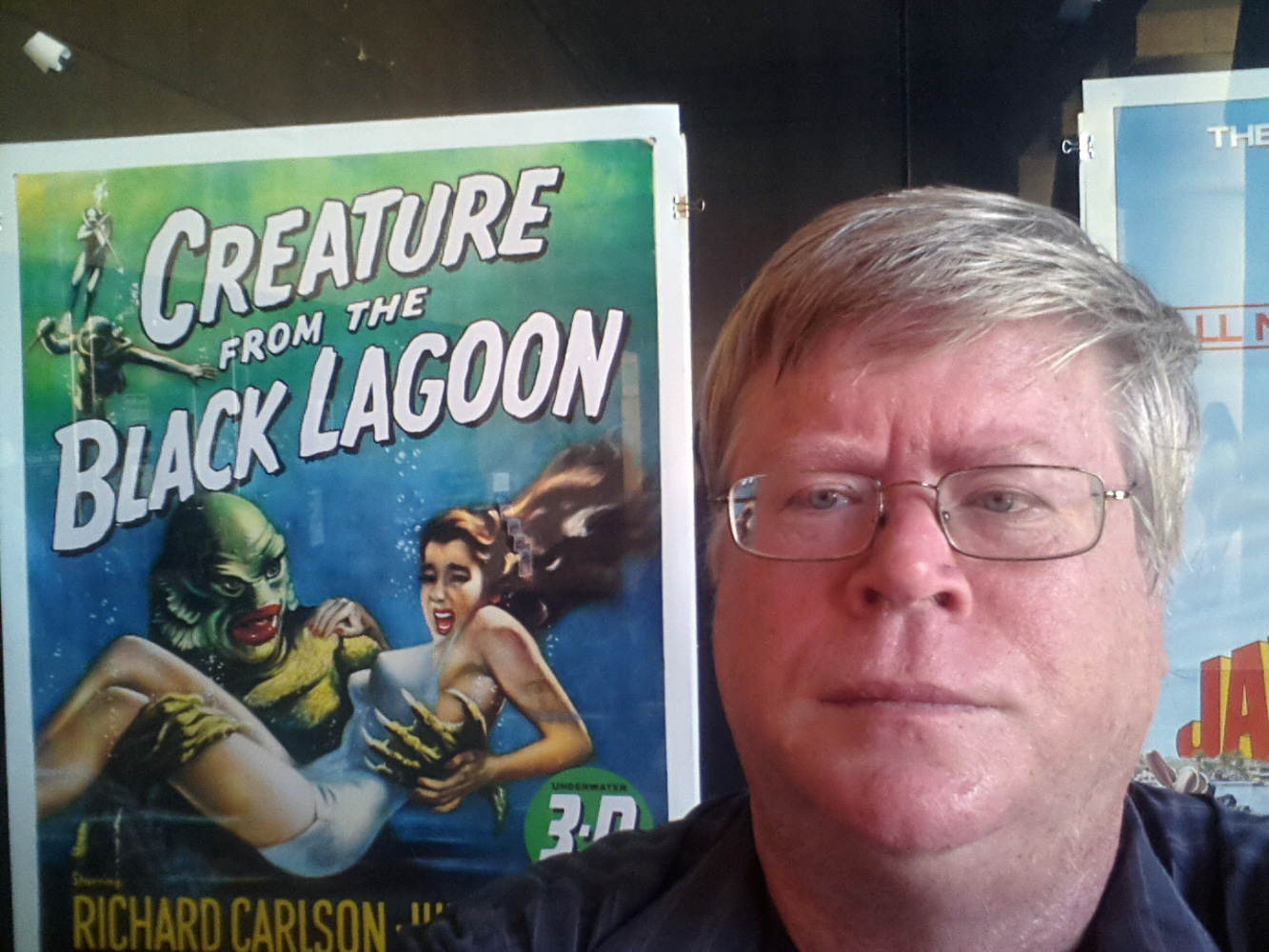 Attending a 3D Film festival in Hollywood at Grauman's Egyptian Theatre. Movie poster for the 3D moview Creature from the Black Lagoon