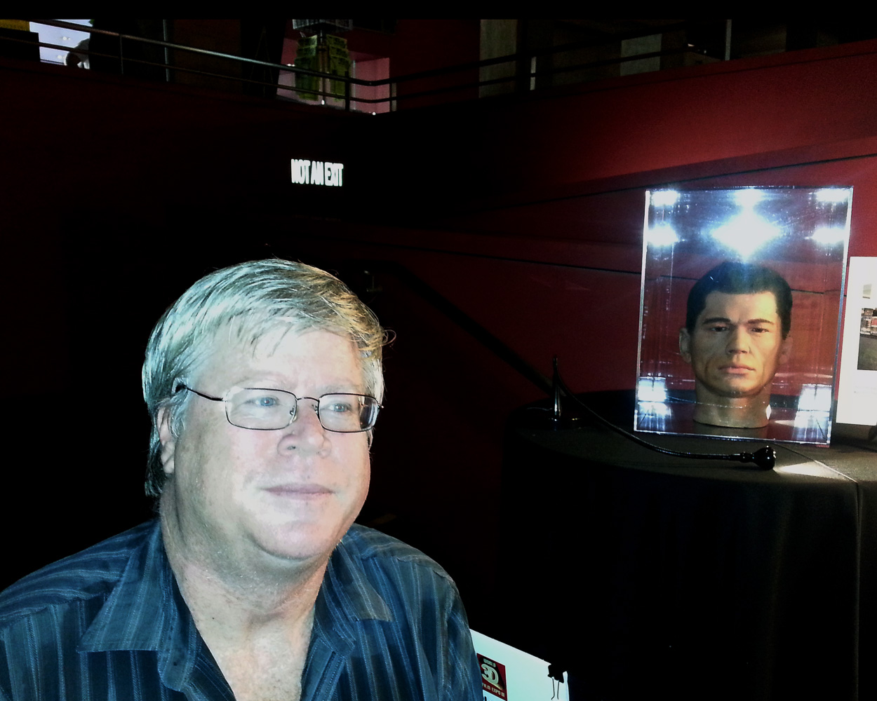 Attending a 3D Film festival in Hollywood at Grauman's Egyptian Theatre with prop from the 3D moview House of Wax