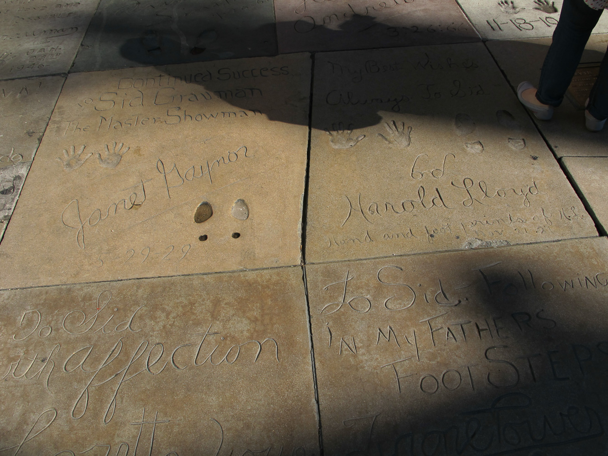 Grauman's Chinese Theatre footprints Janet Gaynor and Harold Lloyd