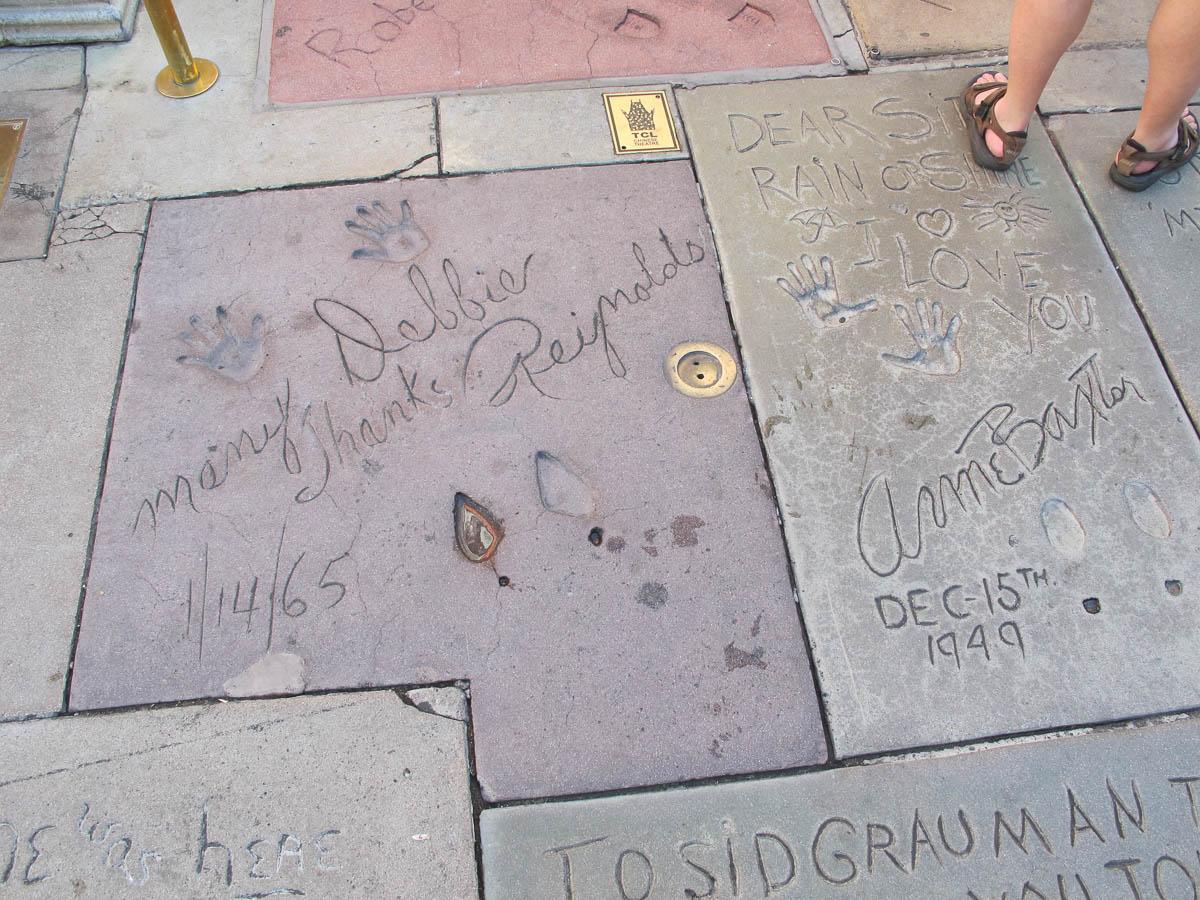 Grauman's Chinese Theatre footprints Debbie reynolds and Anne Baxter
