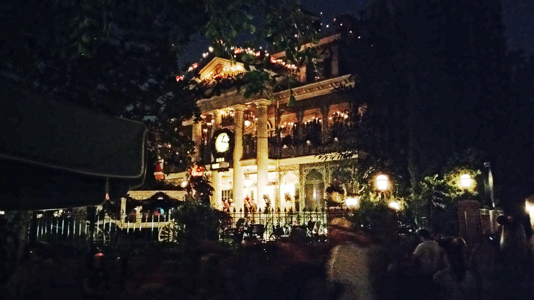 Haunted Mansion ride at night. We ere there in October and it was already decorated for the Nightmare before Christmas theme