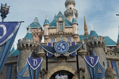 Sleeping Beauties castle decked out for the 60th anniversary