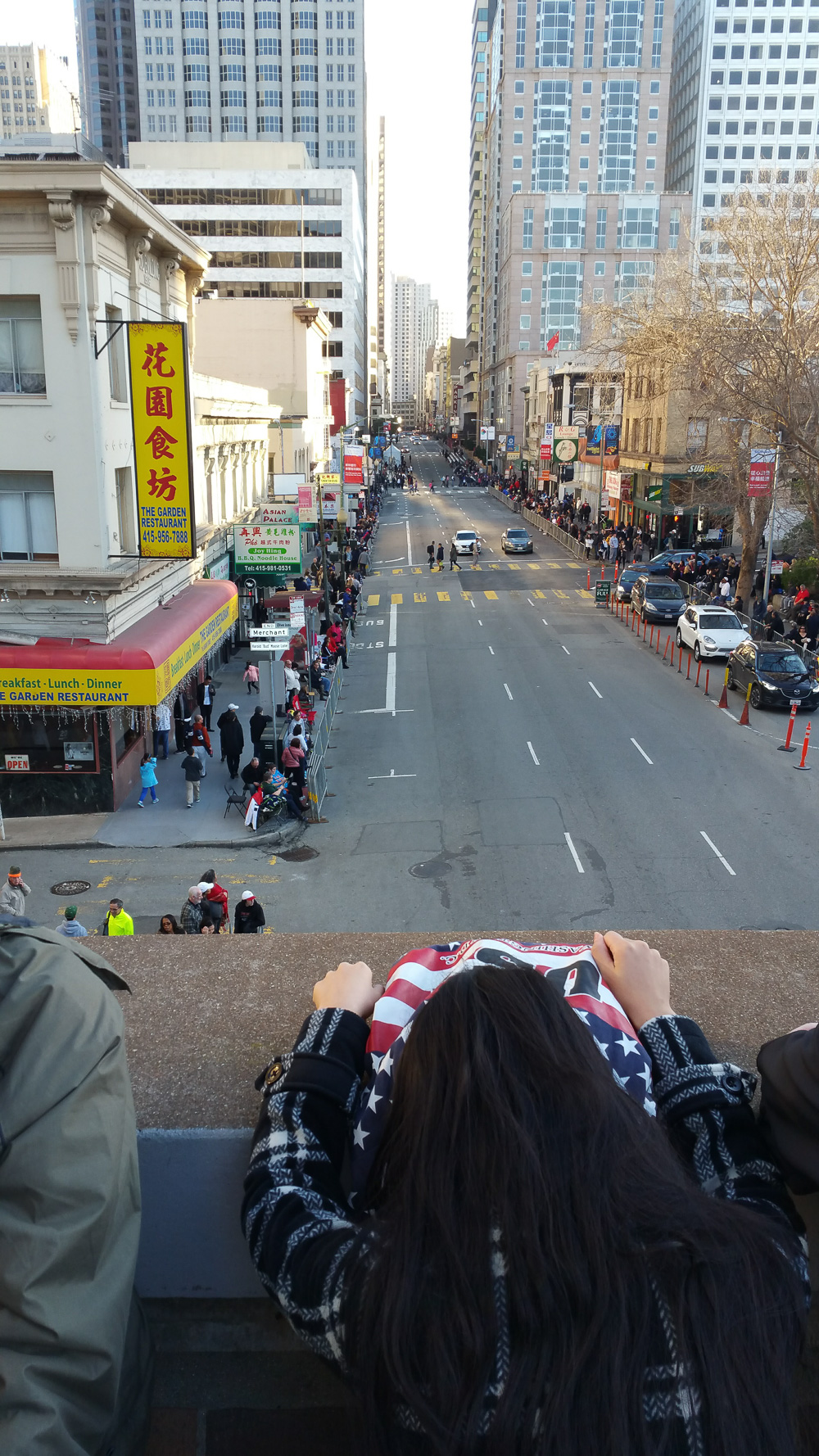 San Francisco Chinese New Years parade along the parade route as crowds arrive