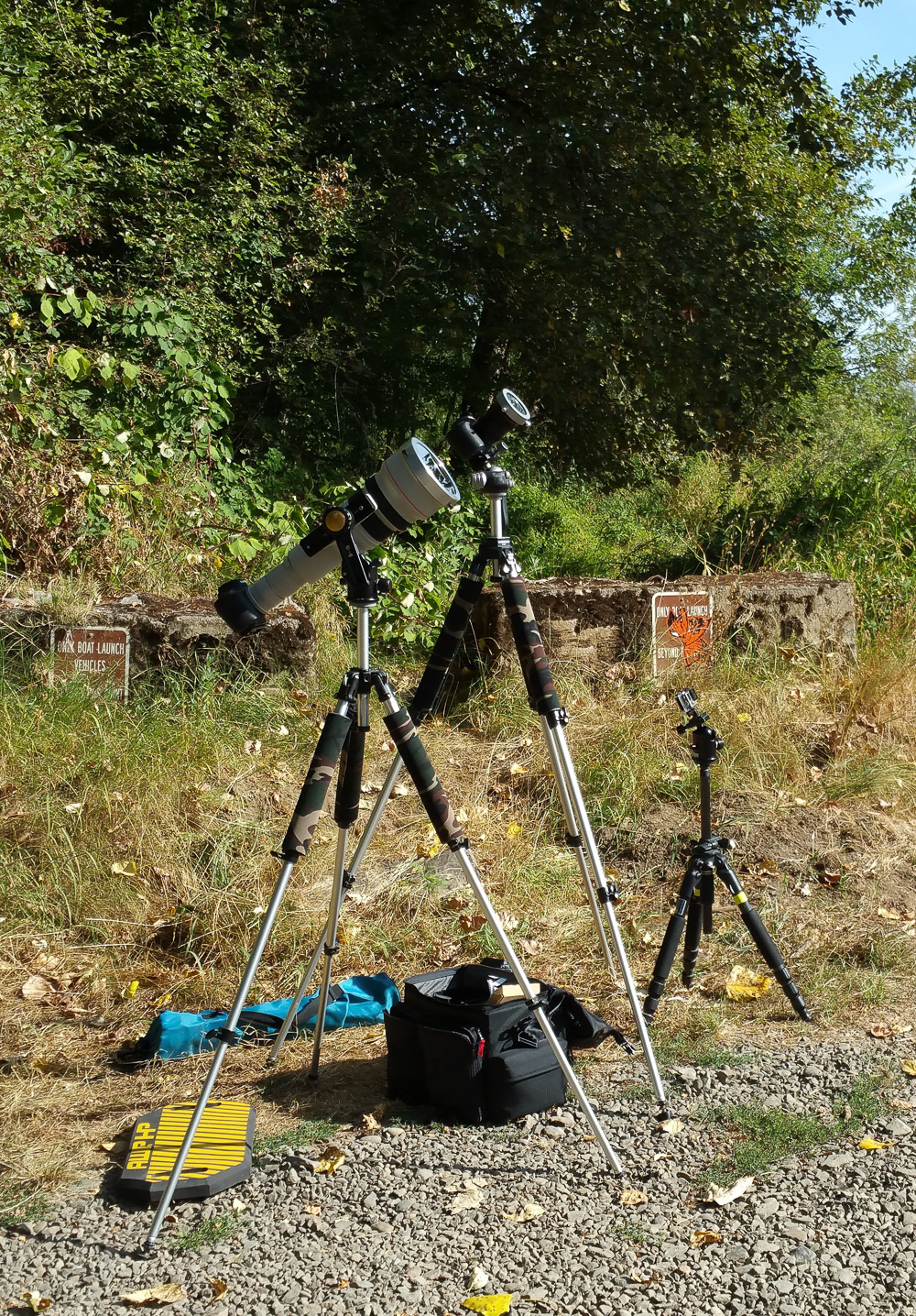 Practicing our setup the day before the solar eclipse. We thought we had a nice quiet location for the eclipse.