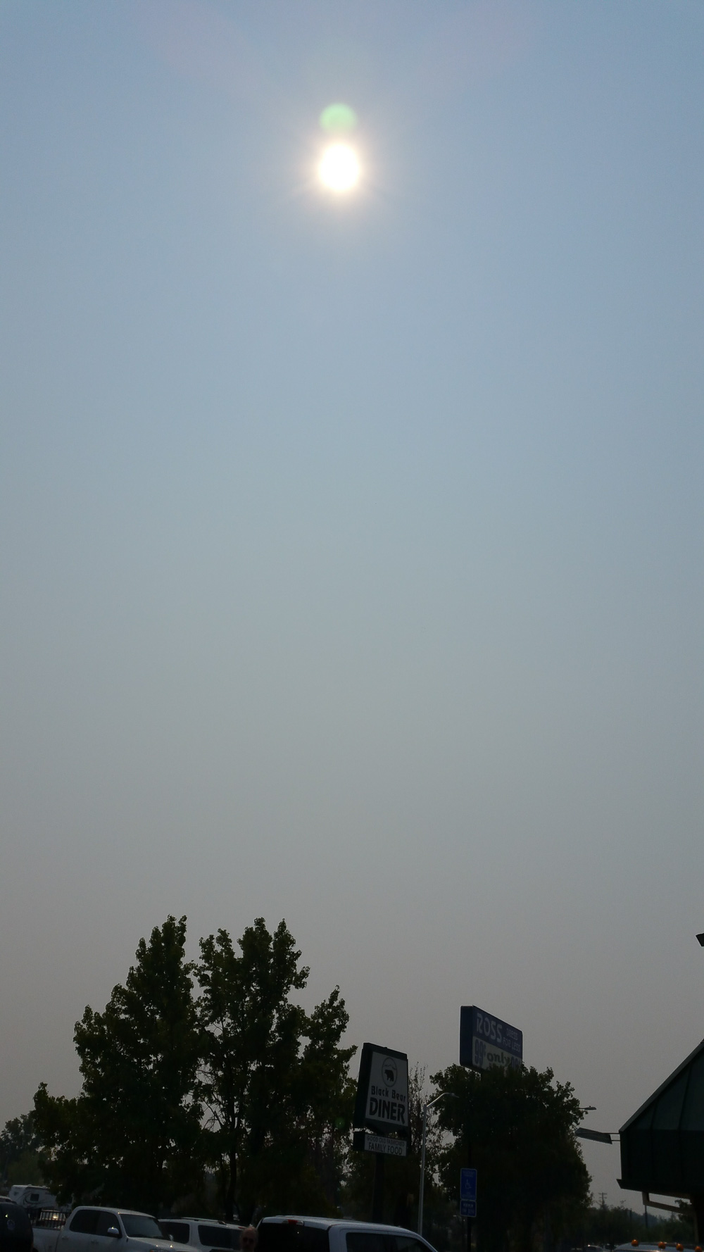 Smokey overcast outside  in Redding, CA on drive up to Eugene the day before the solar eclipse.