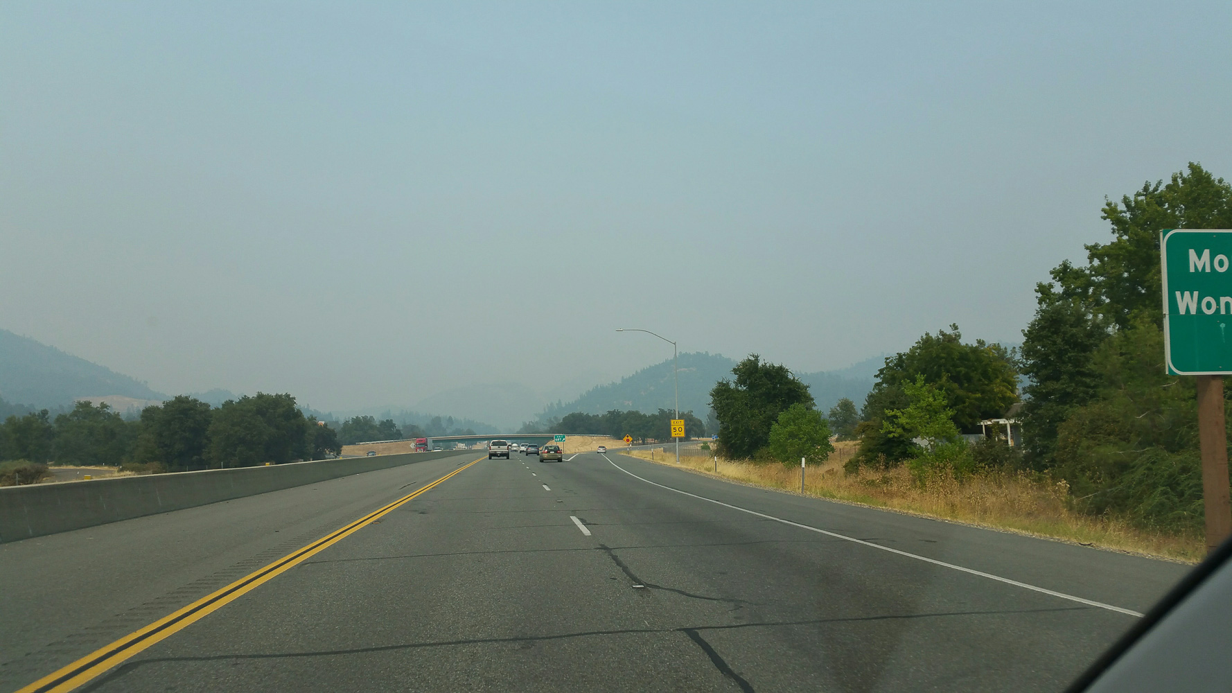 Mount Shasta should be visible to the right of interstae 5, but it is too smokey