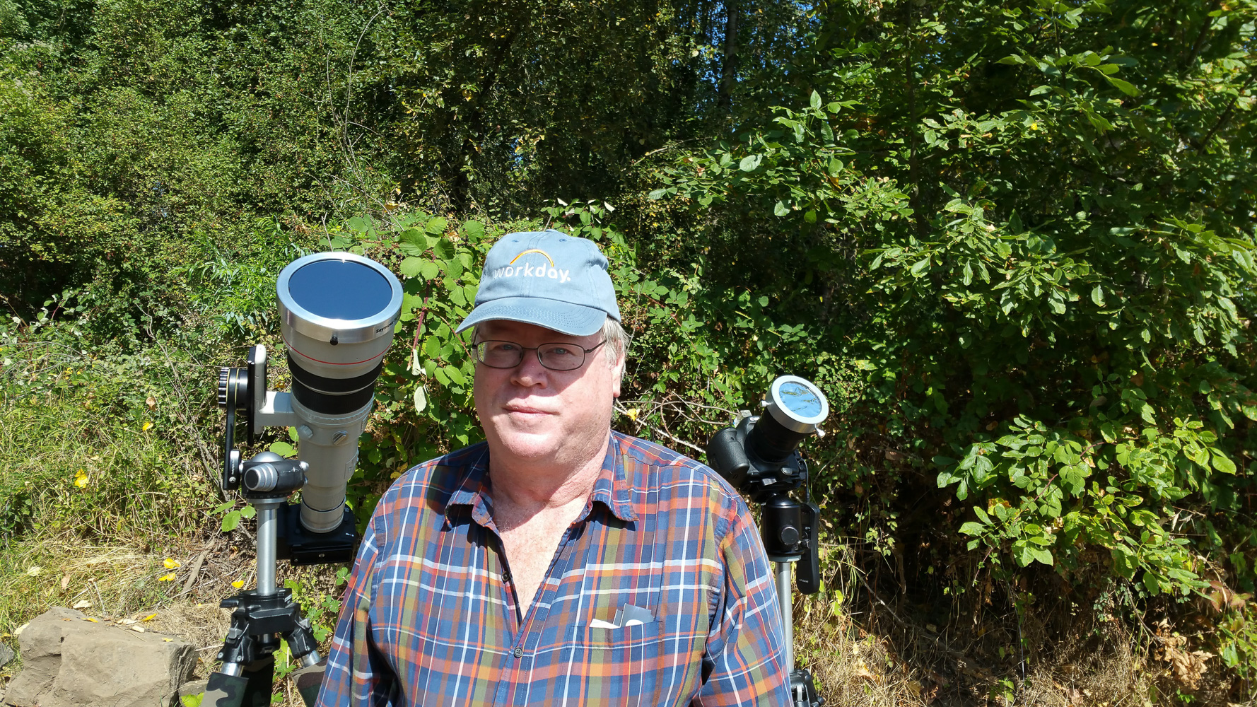 Me with the main cameras I shot with and their solar filters attached. Next time i will remeber to bring an extra camera to shoot with during totality.