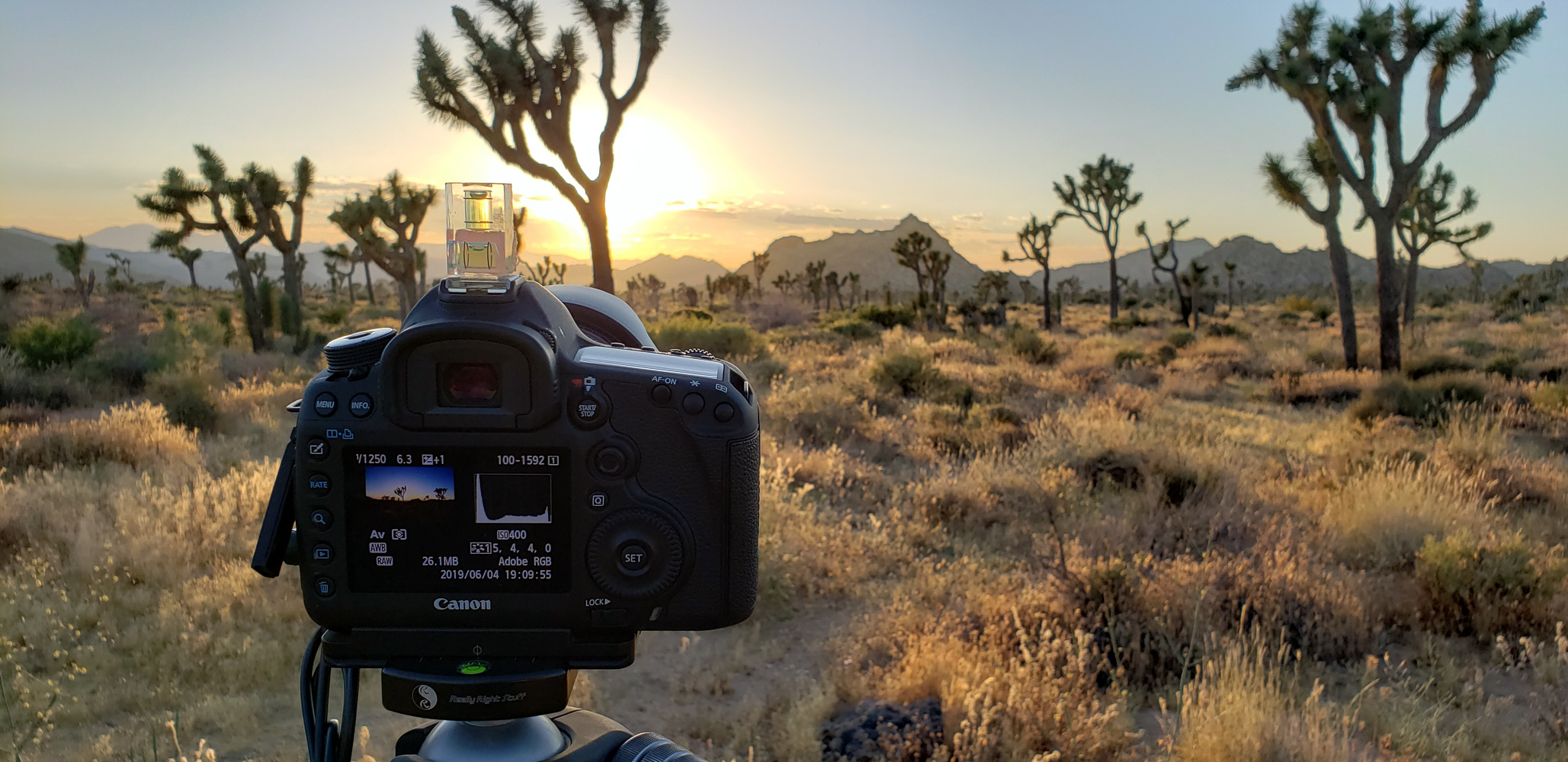 Joshua Tree national park shooting a timelapse of the sunset on the Boy Scout trail