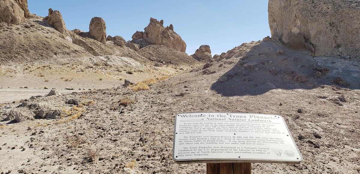 Trona Pinacles tuffa formations