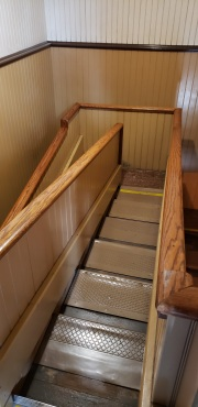 Winchester Mystery House in San Jose. A very narrow staircase that folds back on itself tostay compact.