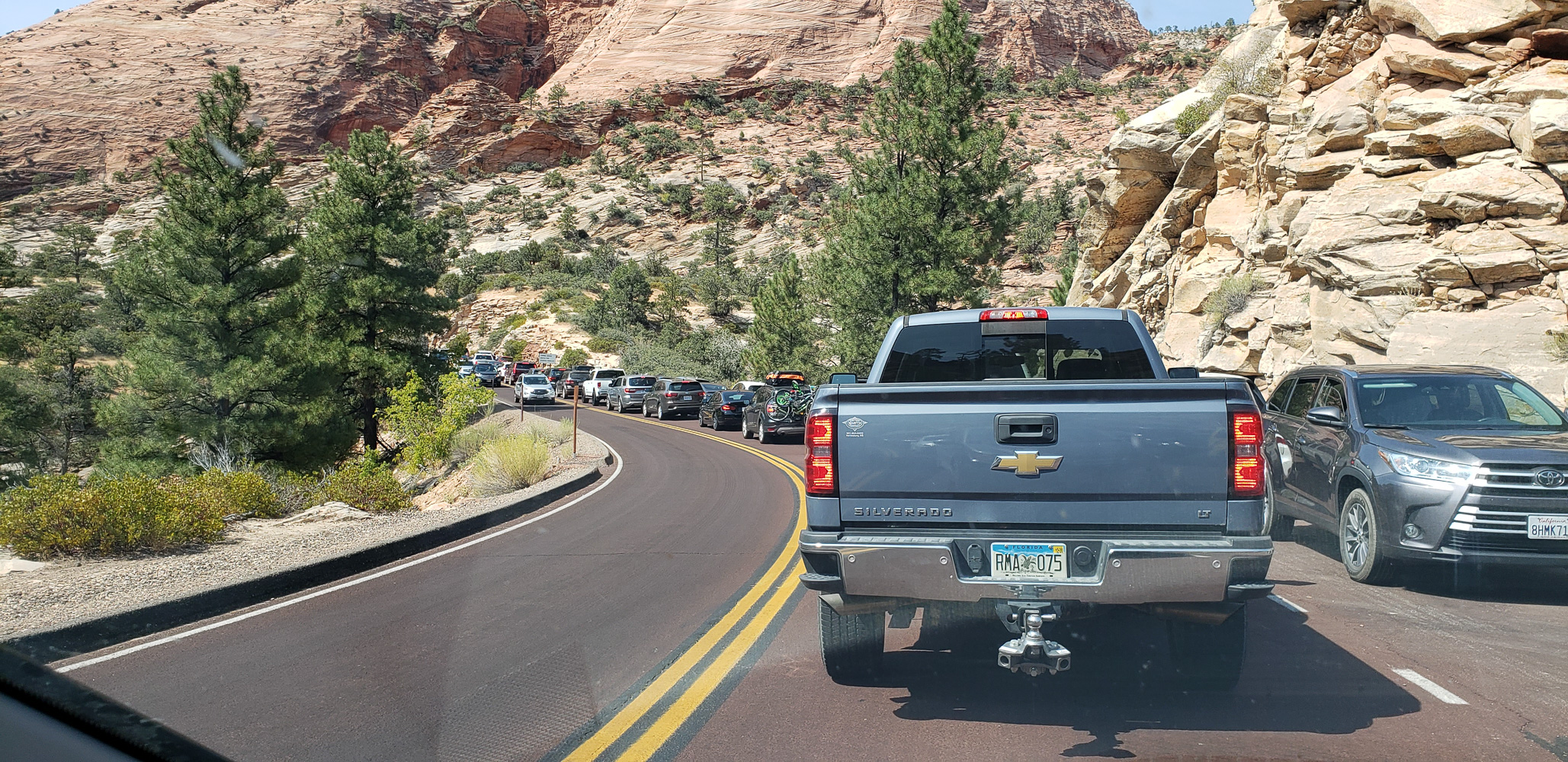 Traffic getting into the Zion-Mt Carmel tunnel to enter Zion National Park